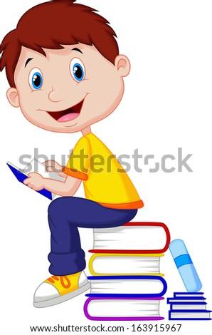 Boy reading book  - stock photo
