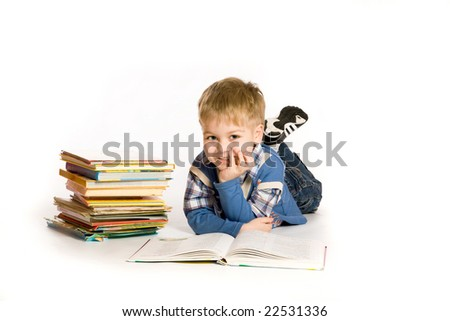 boy reading book; isolated on white - stock photo