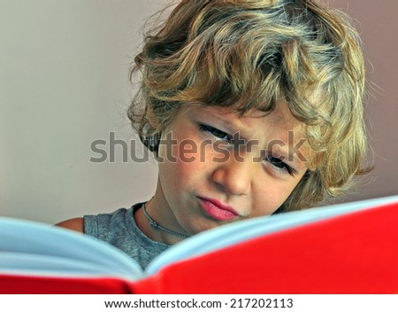 Boy reading the book - stock photo