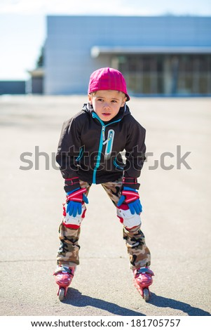 Boy roller-blading - stock photo