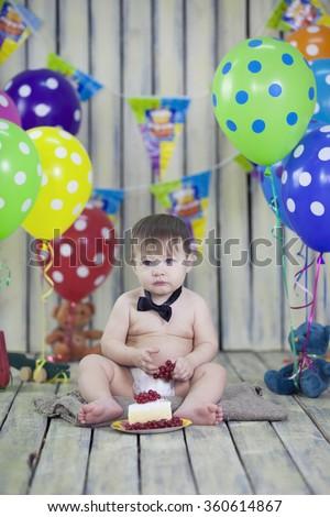 boy's first birthday cake - stock photo