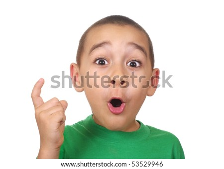 boy saying ah-ha - stock photo
