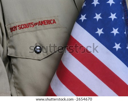 Boy scout Uniform & US Flag - stock photo