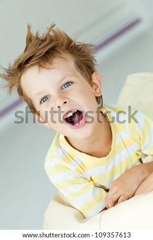 boy screams - stock photo