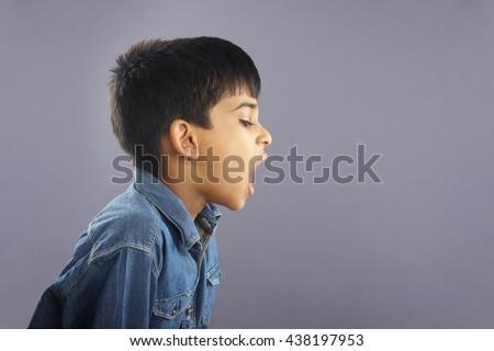 Boy shouting - stock photo