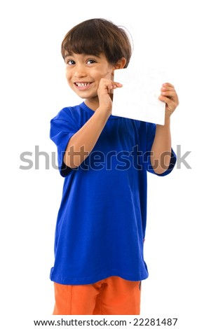 Boy showing a empty paper card . - stock photo
