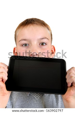 Boy showing Tablet Computer closeup Isolated on the White Background - stock photo