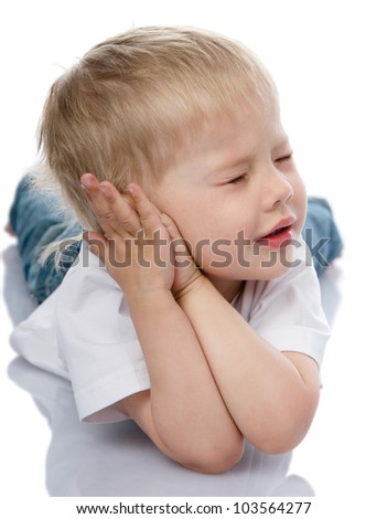 boy sleeping with hands under  face. isolated on white background - stock photo