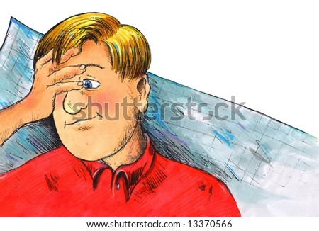 boy, student , stress exam - stock photo