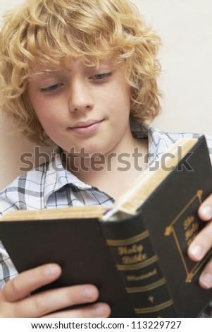 Boy Studying Bible - stock photo
