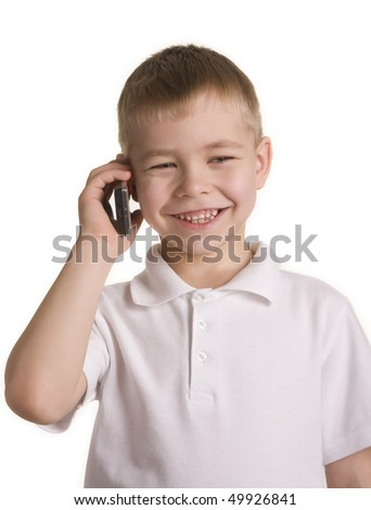 Boy talking on a cell phone, isolated - stock photo