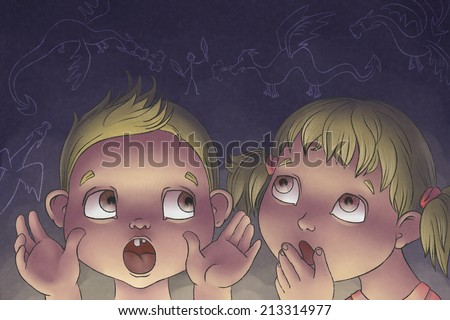 boy tells girl story about dragons - stock photo