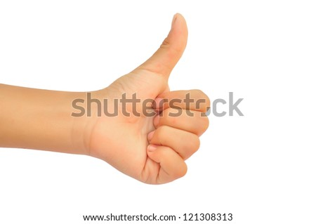 boy thumb up isolated on white background - stock photo