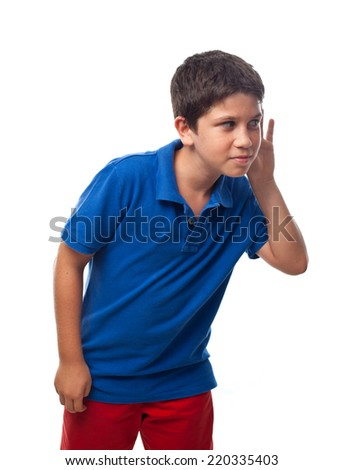 boy try to listen - stock photo