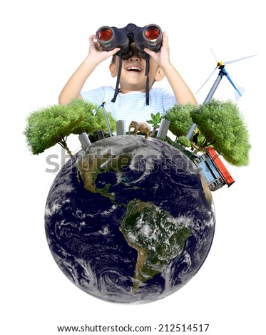 Boy using binoculars with globe concept , isolated on white background (Elements of this image furnished by NASA) - stock photo