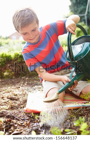 Boy Watering Seedlings In Ground On Allotment - stock photo