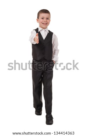 boy welcomes. isolated on white - stock photo
