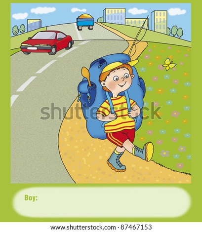 boy with a big backpack is on the side of the road - stock photo