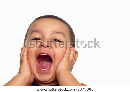 Boy with a crazy expression - stock photo