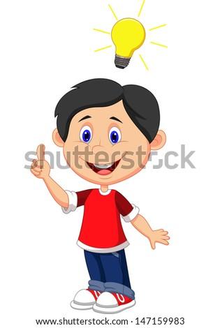 Boy with a good idea - stock photo