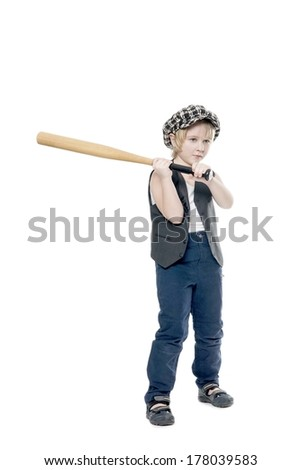 boy with a stick - stock photo