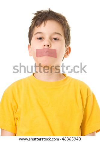 Boy with adhesive tape on mouth - stock photo