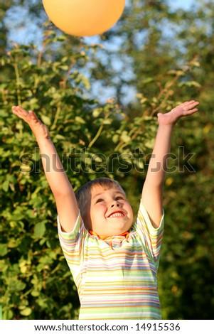 boy with air-balloon - stock photo