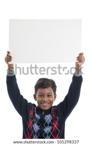 Boy With Blank Board - stock photo