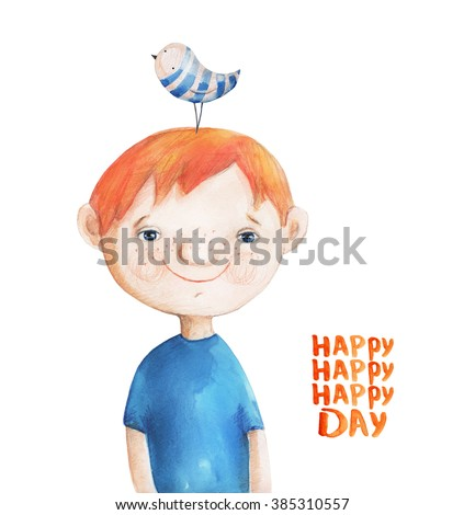 Boy with blue striped bird on head. Happy day. Watercolor Illustration. Hand drawing - stock photo