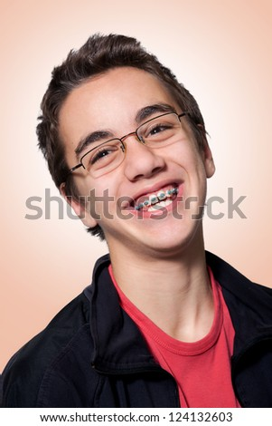 Boy with braces and glasses, Boy with braces and glasses - stock photo