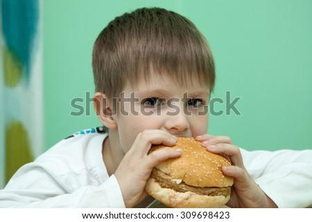 boy with burger - stock photo