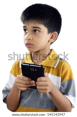 Boy With Cell phone - stock photo