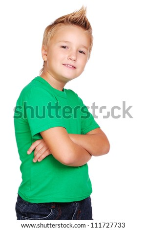 Boy with crossed hands - stock photo