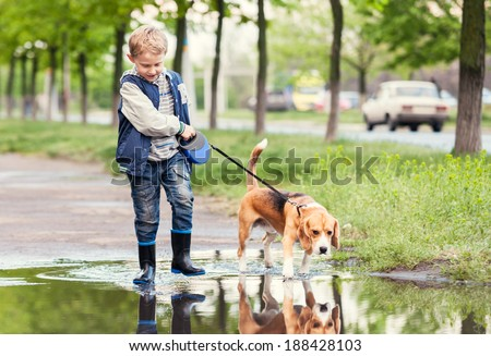 Boy with dog walks through the puddle - stock photo