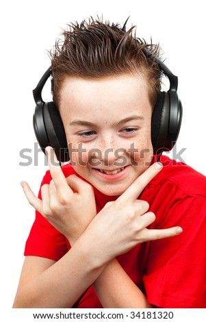 boy with freckle and headphones on a white background - stock photo