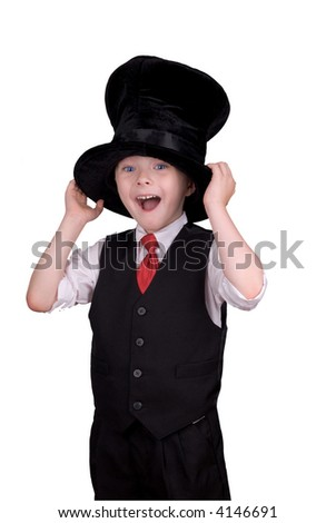Boy with Funny expression wearing a floppy top hat isolated over white - stock photo