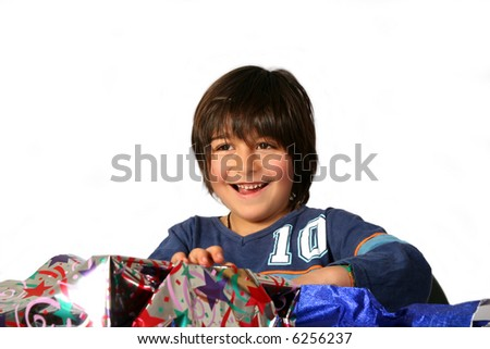 Boy with gifts - stock photo