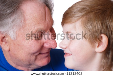 boy with  grandfather - stock photo