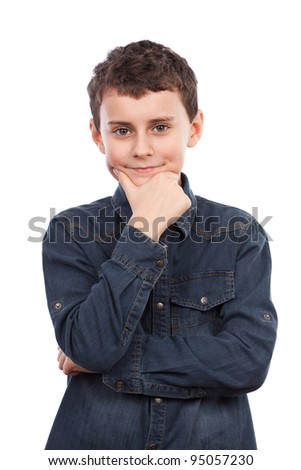 Boy with hand on chin, thoughtful. Isolated on white background - stock photo