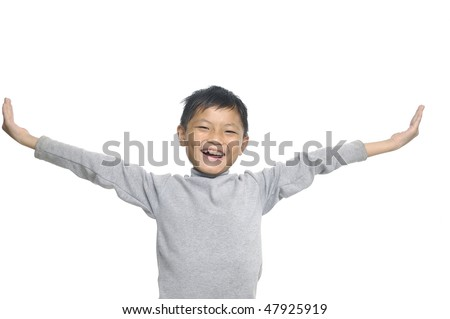 boy with hand to success - stock photo