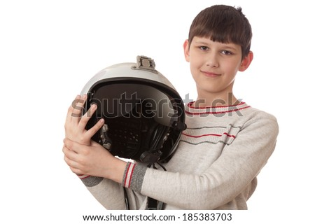 boy with helmet isolated on white background - stock photo