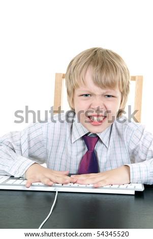 Boy with keyboard - stock photo