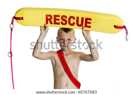 Boy with lifeboat on white background - stock photo
