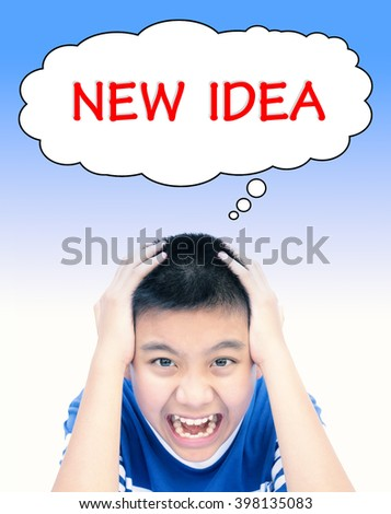 Boy with new idea speech for business concept background. (Vintage tone filter effect) - stock photo