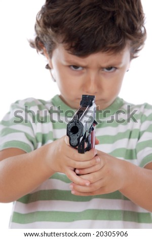 Boy with one pistol on his hands isolated over white - stock photo