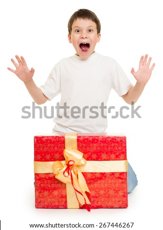 boy with red gift box - stock photo