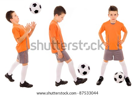 Boy with soccer ball. Isolated on white - stock photo