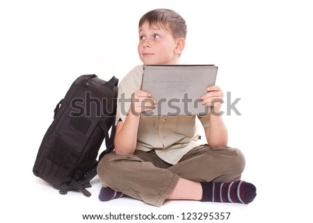 boy with tablet computer on a white background - stock photo