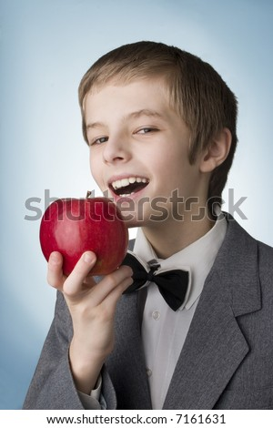 boy with the apple - stock photo