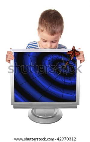 boy with the cracked monitor into which fell the dart, collage - stock photo
